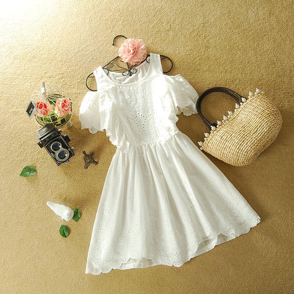 Vestido Branco com Manga Cigana - yohstore